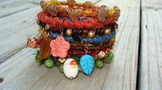upcycled silk yarn jewelry autumn fall by madhattresscreations, $32.99
