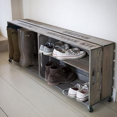 Welly Crate in Vintage Style Crate for Shoes and Boots Storage in Hallway with three compartments