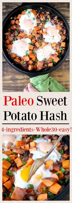 Paleo Sweet Potato Hash- 4 ingredients, super easy, and delicious!! Whole30, gluten free, and dairy free.