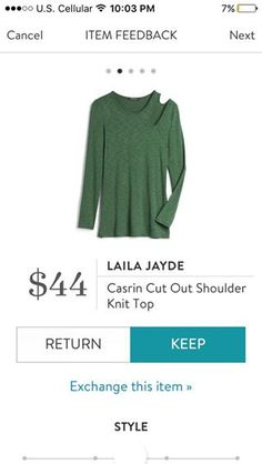 Laila Jayde Casrin Cut Out Shoulder Knit Top - love this color
