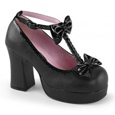 T-Strap Gothika Bow Mary Jane - New at ShoeOodles.com Price: $61.95  They have a 3 3/4 inch heel and 3/4 inch platform with buckled T-strap accented with bows.  All man made materials with a padded insole and non-slid sole.  #gothic #fashion #steampunk