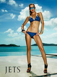 220dc37013bbf Ultra-cool meets effortlessly glamorous in this denim bikini set.  #JETSswimwear