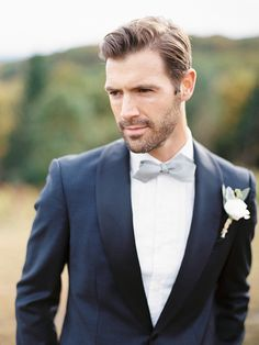 Navy tux with white dinner shirt and silver grey bow tie. Autumn Wedding Inspiration by Trent Bailey Photography Navy Blue Tux, Navy Groom, Groom And Groomsmen, Navy Suits, Bow Tie Groom, Grey Tux, Blue Grey, Wedding Suits, Trendy Wedding