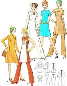 1970s Mod Yoked A Line Dress Hip Length Tunic Maxi by paneenjerez, $10.00