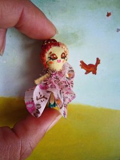 Miniature rag doll with floral gown. By Georgina Verbena Verbena, Doll Toys, Dolls, Floral Gown, Crochet Earrings, Art, Trapillo, Miniatures, Art Background