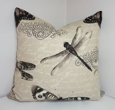 Butterfly Dragonfly Natural Print Decorative Pillow Throw Pillow Accent Pillow 18x18 on Etsy, £13.43
