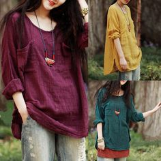 Fashion Ladies Loose Casual Solid Tops 3 4 Sleeve Cotton Linen Blouse Shirt Tee   eBay
