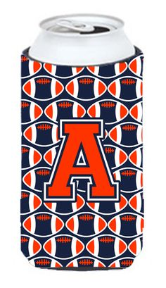 Letter A Football Orange - Blue and white Tall Boy Beverage Insulator Hugger CJ1066-ATBC #artwork #artworks