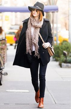 Emma Stone wearing the perfect winter look: layered scarf + tan leather ankle boots