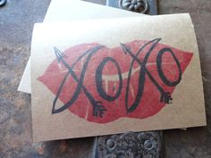 Valentine's Day Stamped Kraft Paper Note Card, XOXO, Lips, Love, Hugs & Kisses, Hand Carved Stamp, Stamped by TheFoxesTail on Etsy