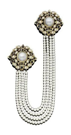 A sapphire and cultured pearl double brooch, by Grès for Cartier