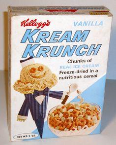 old, Kellogg's Kream Krunch Cereal Vintage Food Labels, Vintage Packaging, Vintage Ads, Vintage Advertisements, Retro Recipes, Vintage Recipes, Kids Cereal, Cereal Boxes, Cereal Food
