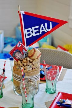 Baseball Baby Shower Centerpieces | pendants oh my!! Such loveliness here with this baseball centerpiece ...