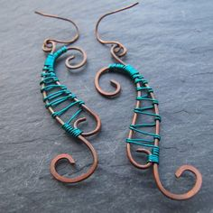 Carnelion - Turquoise and Copper Swirl Earrings