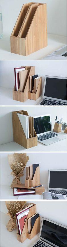 Bamboo Desk Office Magazine & File Folder Organizer