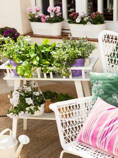 Mueble para plantas en blanco con dos niveles, silla de exterior con cojines y alféizar con jardineras