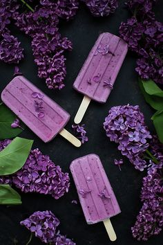 Blueberry Popsicles by LightPoem Photography Cute Desserts, Frozen Desserts, Frozen Treats, Blueberry Popsicles, Cute Food, Yummy Food, Purple Food, All Things Purple, Sweets