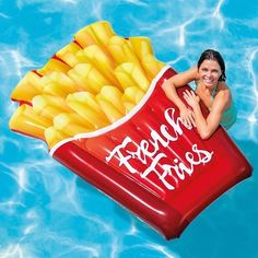 Intex Inflatable French Fries Pool Float, 69 inch x 52 inch, Size: One size, Multi-color Inflatable Float, Giant Inflatable, Summer Pool, Summer Fun, Pool Fun, Cool Pool Floats, Pool Toys, Water Toys, Cool Pools