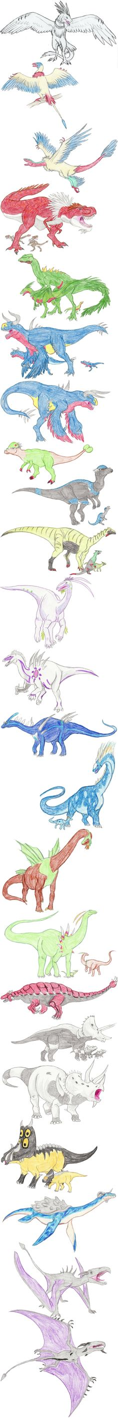 Dinosaur Pokemon by DragonlordRynn on deviantART...is it bad if I can't recognize some of these? :/