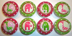 Handmade Pink and Green Ellie and Stretch Dresser knobs by whimzicality, $18.99 on etsy.com
