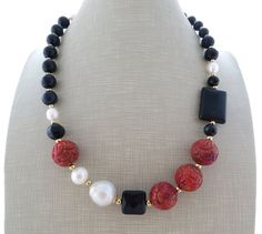 Red coral necklace baroque pearl necklace black by Sofiasbijoux