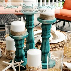 Beautiful Summer Beach Tablescape with DIY Dip Dyed Wooden Candlesticks. Coastal Decor, Diy Home Decor, Coastal Homes, Decor Crafts, Diy Crafts, Do It Yourself Home, My New Room, Summer Drinks, Beach Themes