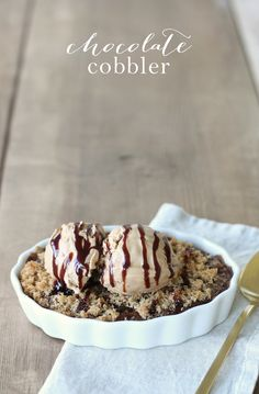 Chocolate Cobbler - an incredibly decadent & delicious dessert! @julieblanner