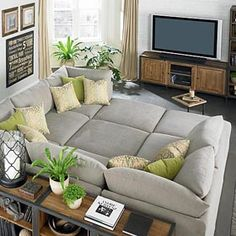 Pit sectional. Every piece of this sectional has equal sides. The pieces can be rearranged many different ways. They are finished all around and can stand alone too!