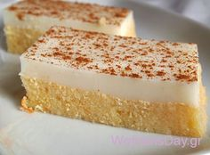 A delicious sweet, combining syrupy sweetness rematch coolness of malempi. Greek Sweets, Greek Desserts, Summer Desserts, Greek Recipes, Custard Desserts, Delicious Desserts, Dessert Recipes, Vasilopita Recipe, Low Calorie Cake