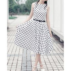 Vintage Polka Dot Print Boat Neck Sleeveless A-Line Design Mid-Calf Length Women's Dress With Belt