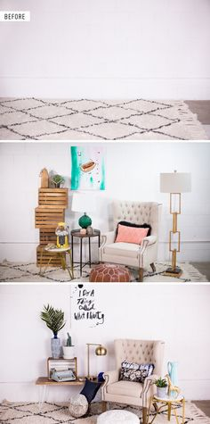 Decorating with your own DIY Artwork | Before and after, 2 ways! Depending on the colors and tone of the painting you hang on the wall, your room can become anything you want it to.