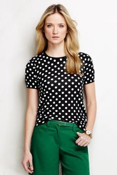 Women's Supima Short Sleeve Print Sweater from Lands' End