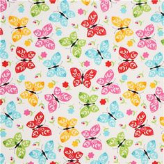 white flower butterfly flannel fabric by Robert Kaufman