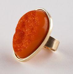 Cute orange Druzy ring