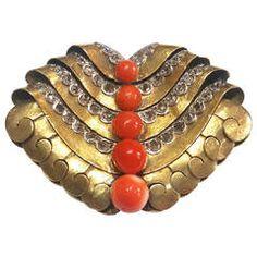 1930s Mercade Art Deco Coral Diamond Gold Brooch