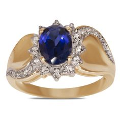 1/10cttw with Created Sapphire Fashion Ring in 10k Yellow Gold - Jewelry Deals 80% OFF + $25 OFF extra discount on purchases $500 & UP ! Enter PINPROMOT coupon at CHECKOUT to get $25 OFF when you place your order @ NissoniJwelry.com