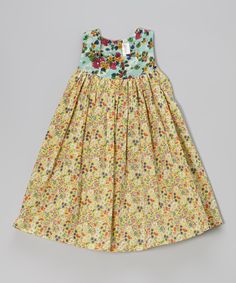 This Blue & Yellow Floral Babydoll Dress - Girls by Yo Baby is perfect! #zulilyfinds