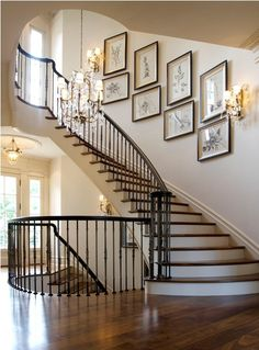 Great example of a gallery up a staircase