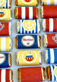 nautical party candy bar favors. These could be a cost effective party favor and or decoration for table...