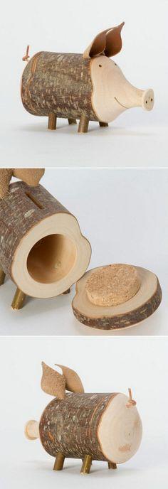 Sparschwein aus Holz, schönes Geschenk für jeden Anlass, kreativ und einzigartig