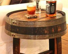 Barrel table | Etsy Barrel table | Etsy #barreltable,#reclaimedwoodcoffeetable,#winebarreltable,#whiskeybarreltable,#barrelendtable,#whiskeybarrelcoffeetable,#coffeetable,#barrelfurniture, #winebarrel,#winebarreltable, #whiskeybarreltable,#reclaimedwood Used Whiskey Barrels, Wine Barrels, Wine Barrel End Table, Rustic End Tables, Whiskey Distillery, Wine Barrel Furniture, Man Cave Home Bar, Bourbon Barrel, Dark Walnut Stain