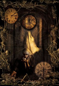 """Macabre (pronounced """"mak-kahb"""") is a quality of certain artistic or literary works, characterized by. Photomontage, Steampunk, Dark Artwork, Pagan Art, Clock Art, Gothic, The Time Is Now, Time Warp, Animation"""