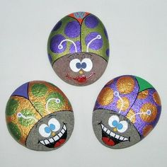 Hand Painted Rocks - Carrie's Beetle Bug Trio