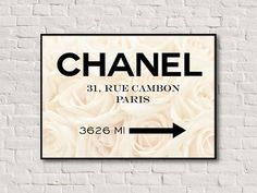 New- A3 size Chanel sign. Chanel printable poster. Chanel illustration. Instant download