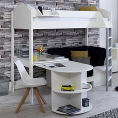 Stompa Casa E 3 High Sleeper with Sofa Bed, Pull Out Desk & Shelf – Family Window