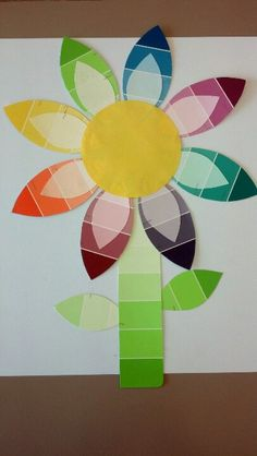 Paint chip flower!!  Great for decorating in the classroom, job, or at home