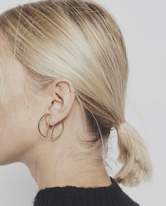 Double D Semi Circle Light Gold Earrings, Simple Orb Circles Gold Earring, Minimalist Metal Ear Stud, Modern Geometric Everyday Jewellery