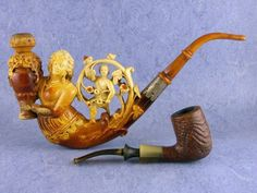 """Meerschaum or French name for the same substance - écume-de-mer, we call it """"sea foam"""". As the use of meerschaum pipes slowly change color, and very old are more shades of yellow, orange and red colors"""