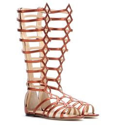 Charlotte Olympia Maya Metallic Leather Gladiator Sandals For Spring-Summer 2017