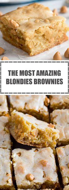 The Most Amazing Blondies Brownies - asuransimobil. Brownie Desserts, Sweet Desserts, Brownie Recipes, Easy Desserts, Dessert Recipes, Best Blondies Recipe, Blondies Brownies Recipe, Cookie Brownies, White Chocolate Blondies